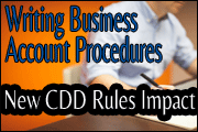 Writing Business Account Procedures - New CDD Rules